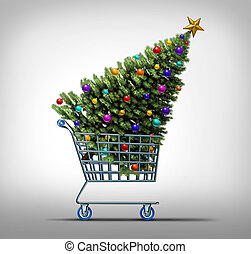 Christmas Shopping - Christmas shopping concept as a store...