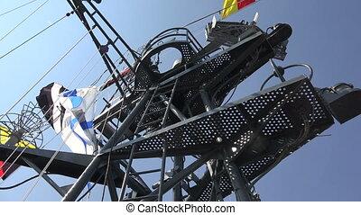 Antennas warship. 4K.