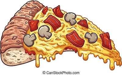 Bacon pizza - Slice of bacon pizza. Vector clip art...