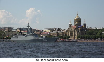 Russian military naval ship. Shot in 4K (ultra-high...