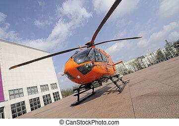 laranja, salvamento, helicóptero