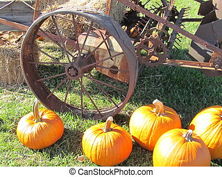 Vintage wagon wheel with pumpkins