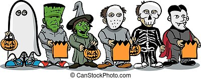 Trick or Treat - An Illustration of a group of trick or...