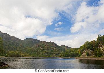Loch Katrine in Scotland - Cloudy sky over the Loch Katrine...