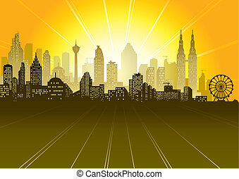 Urban Scene - Urban sunrise or sunset scene, vector...