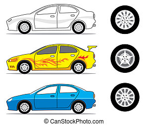 Car Side View - Car and tire graphic, vector illustration