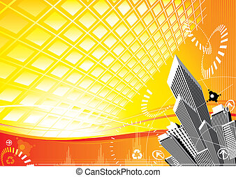 City Solar Power design, vector illustration layered.
