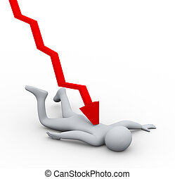 3d person financial crisis fall - 3d illustration of falling...
