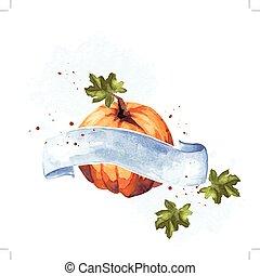 Colorful watercolor pumpkin
