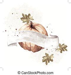 Vintage watercolor pumpkin