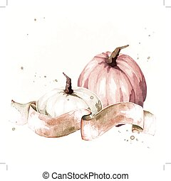 Vintage watercolor pumpkins - Watercolor-like autumnal...