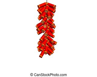 firecrackers - a string of red firecrackers which being used...