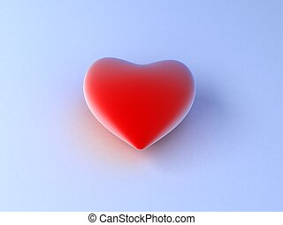 red heart on blue background.