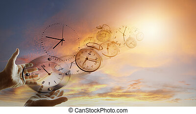 Time flies - Hands and clocks in sky