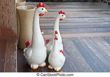 family chickens ceramic.
