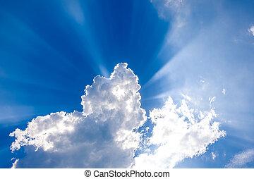 por, sol, nubes