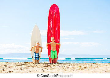 Young Boys with Surfboards - Young Boys With Surfboards on...