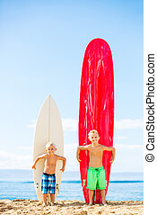 Young Boys with Surfboards - Cute Young Boys With Surfboards...