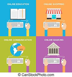 Online service concepts flat icons set of education shopping...