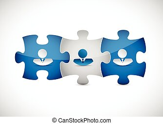 business people puzzle pieces illustration