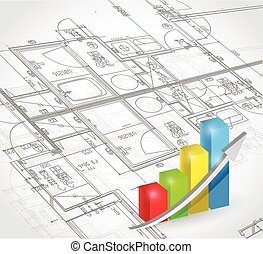 blueprint and business graph illustration