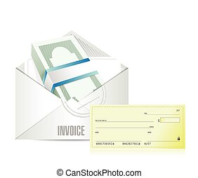 invoice envelop and check illustration