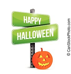 happy halloween sign illustration design