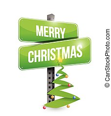 Merry Christmas sign illustration design over a white...