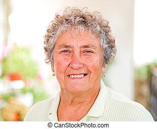 Elderly woman - Portrait of the sweet happy elderly...