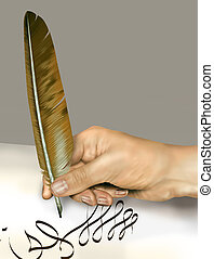 Handwriting with a feather quill - Illustration of a person...