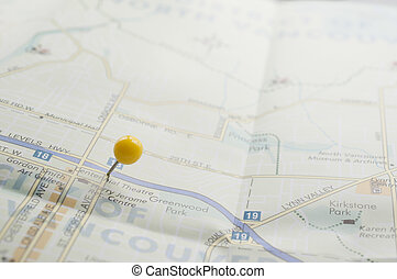 Travel Destination  - Yellow pin on the map