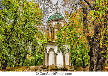 Petrin hill garden and buildings - Petrin hill in Prague:...