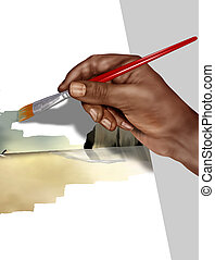 Artist at work - Illustration of an artist painting a...