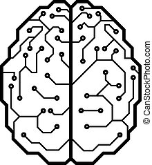 Cyber brain - Circuit board with a brain shape. Eps8. CMYK....