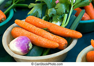 Vegtables with carrots at market - Small local market Paris...