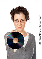 Your data backup - Business woman holding a dvd disc over a...