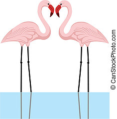 flamingo couple - illustration of a couple of pink flamingos...