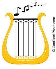 music harp - vector illustration of a harp and notes
