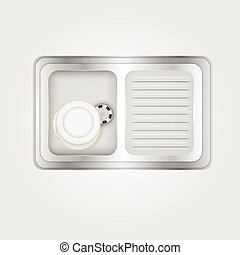 Vector illustration of kitchen sink - Metallic kitchen sink...