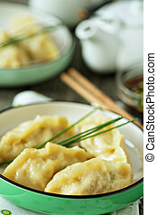 Chinese dumplings with ground chicken and cabbage filling