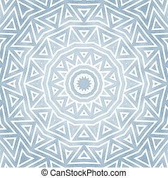 oriente, estilo, detalhado, redondo, Ornamento, azul, branca
