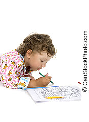 Boy with colouring book close up - people on white - Little...