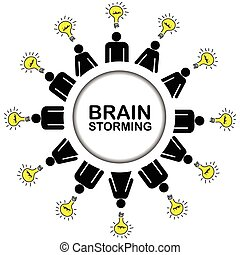 Brainstorming concept with people having ideas