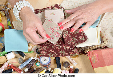 Close, up, woman's, hand, sewing, patchwork