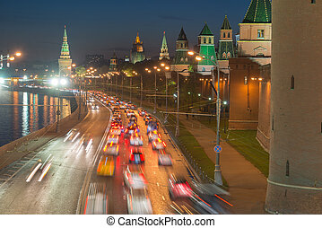 Vehicular traffic on the Kremlin embankment in Moscow, Russia