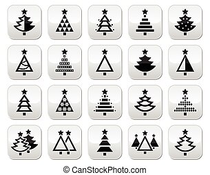 Christmas tree - various types vect - Christmas tree with...