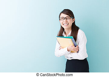 Woman with a file - Beautiful young asian woman with a file