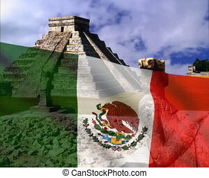 Mexican flag on a background of the Pyramid. PAL