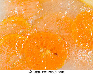 bright oranges - sweet cold ice frozen ripe bright oranges