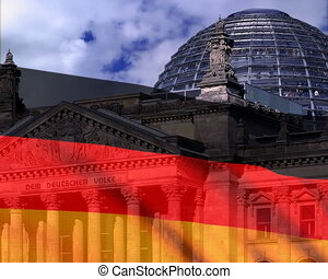 German flag on a background Reichstag. PAL